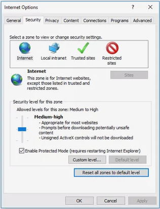 Security Settings for IE